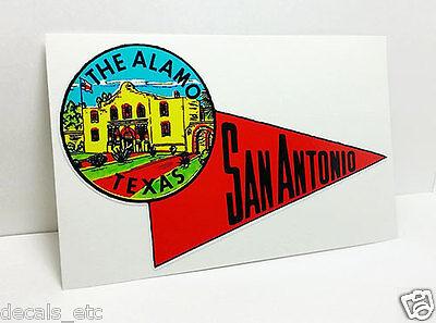 San Antonio Texas Alamo Vintage Style Travel Decal / Vinyl Sticker,Luggage Label