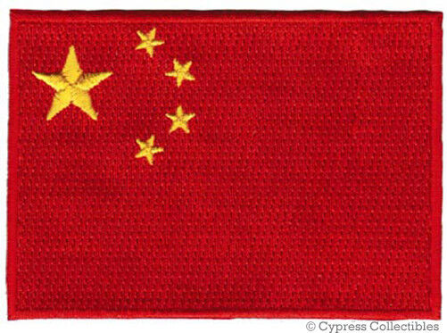 CHINA FLAG embroidered iron-on PATCH CHINESE EMBLEM PEOPLES REPUBLIC APPLIQUE