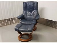 Ekornes Stressless swivel recliner leather chair and footstool Blue