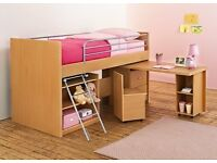mid sleeper with storage and desk
