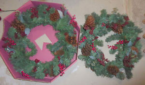 2 matching wreaths with decor