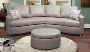 Grey Leather Sectional Sofas SALE (ND 140)