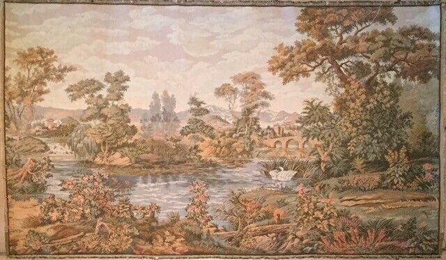 """ANTIQUE WOVEN WALL TAPESTRY Made in BELGIUM or FRANCE 47""""X27"""""""