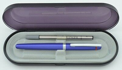ROTRING FREEWAY ROLLERBALL PEN  BLUE METAL  & SILVER NEW IN BOX USES MONTBLANC
