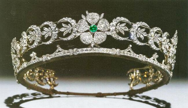 16.58ct Rose Cut Diamond Antique Look 925 Silver Wedding Emerald Gemstone Tiara