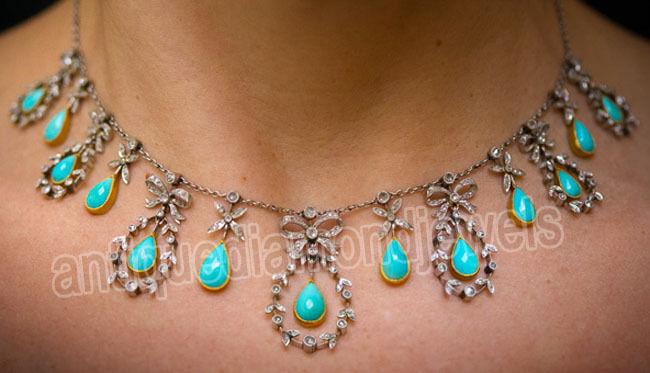 6.20ct Rose Cut Diamond Antique Look 925 Silver Turquise Gemstone Necklace