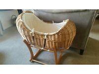 Moses basket baby's crib for sale, with linen. Woven reed crib available in Portsmouth, PO1