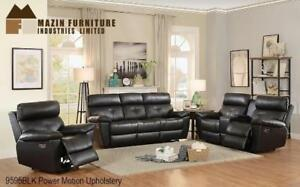 Black Top Grain Genuine Leather Power Recliner Set For Living Room MA10 9595BLK 1