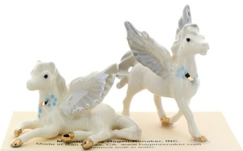 Hagen-Renaker Miniature Ceramic Figurine Pegasus Standing & Lying Set of 2