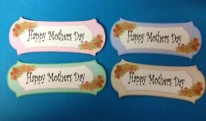 12 HAPPY MOTHERS DAY TAG BANNER CARD MAKING SCRAPBOOKING CRAFT EMBELLISHMENTS