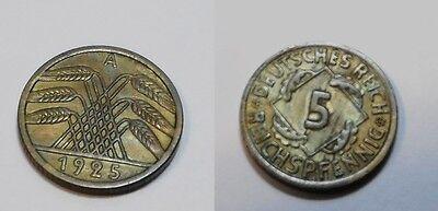 1925 A Germany, Weimar Republic 5 Reichspfennig, high grade