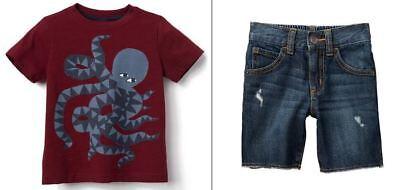 Gymboree Boys Octopus Tee & Jean Shorts NWT NEW 2T Retail $51.90
