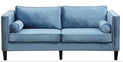 Beautiful Blue Sofa With Silver Studs From Joss And Maine  Retailed At  2000