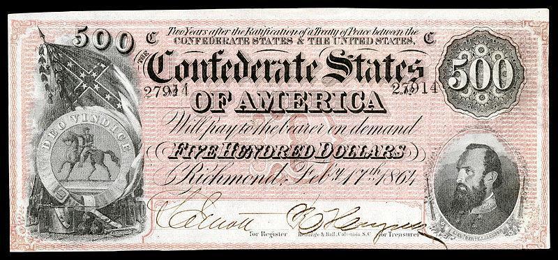 CRISP UNC. 1864 $500.00 CONFEDERATE STATE OF AMERICA BANKNOTE COPY