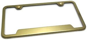 Gold Plain License Plate Frame With Caps