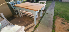 Shabby chic farmhouse table and 4 chairs
