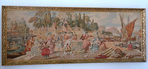 Framed Victorian Tapestry European Men Women at Venetian Harbor London Ontario image 3