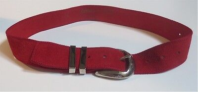 VINTAGE 1970's RED SUEDE LEATHER BELT ~ SILVER BUCKLE ~ APPLAUSE ~ MOD ~ RETRO