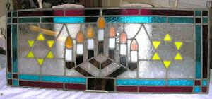 VINTAGE PAIR JEWISH HANUKKAH MENORAH STAIN GLASS WINDOWS London Ontario image 2