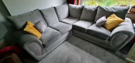 Corner plush grey sofa