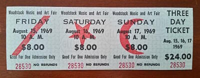 WOODSTOCK 1969 FULL TICKET 3 Day MINT+ (one ticket)  100% GUARANTEED ORIGINAL