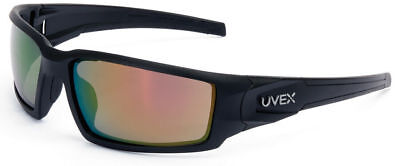 Uvex Hypershock Safety Glasses Black Frame Red Mirror Lens