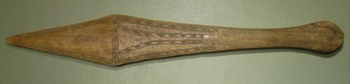 Pacific Islands, Oceania War Club, Chip-Carved Design Both Sides