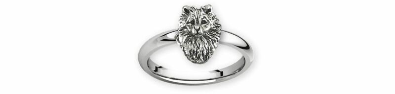Keeshond Jewelry Sterling Silver Handmade Keeshond Ring  KSH1H-R
