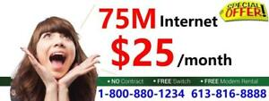 Unlimited 75M Cable internet plan $25/mon, FREE Wifi Modem & No contract. No Credit check.  Call 416-422-2222 to sign up