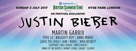 Justin bieber British summer time festival tickets
