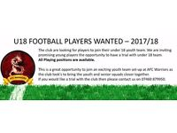 U18 FOOTBALL PLAYERS WANTED – 2017/18