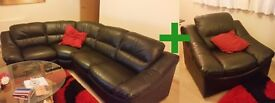 Genuine Leather - Rounded Corner Leather Sofa AND Single Chair
