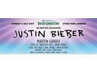 2x Justin Bieber Tickets - British Summertime Festival