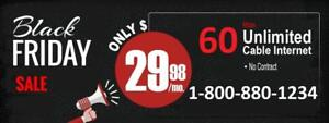 LOWEST PRICE 60M Unlimited Internet $30/month, free modem, $40 installation. Call or SMS 613-812-8888 or scan QR code