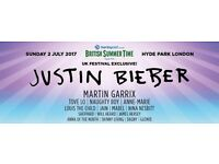 Justin Bieber Barclays British Summer Time London Hyde Park 2 tickets Sunday 2nd July