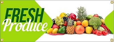 Fresh Produce Vinyl Display Banner With Grommets 3h X 8w Full Color