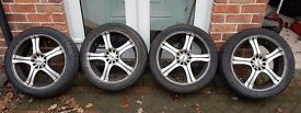 "17"" Multi Fit Alloy Wheels 5 Stud Pattern WITH Tyres Set Of Four"