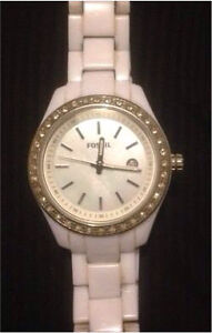 MOTHER OF PEARL WHITE FOSSIL WATCH