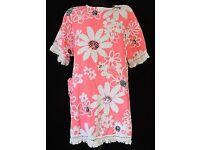 VINTAGE 1960 Terry Towelling Cloth Beach Dress:Pink White Black MOD 100% Cotton. Fringe Flower Power