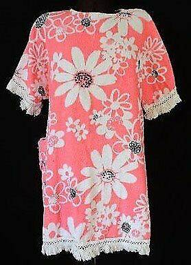 4a7f55428e VINTAGE 1960 TERRY TOWELLING BEACH DRESS FRINGE CLOTH FLOWER POWER 100% Cotton  PINK White Black MOD