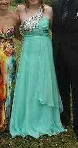 Aquamarine chiffon with rhinestone detail prom/semiprom dress