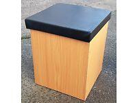 Brand New Pair of Oak Low Storage Stools