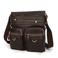 Leather Crossbody Messager Bag - Brown