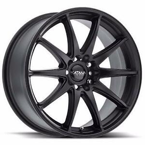 NEW! 18 inch FULL MATTE BLACK!! WITH NEW TIRES!! Multi bolt pattern FITS MANY VHEICLES!
