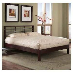 wooden queen bed with mattress Campsie Canterbury Area Preview