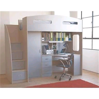 Kids bunk bed with desk and wardrobe