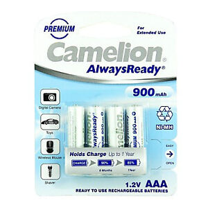 Camelion AlwaysReady 900mAh AAA Ni-MH Rechargeable Battery