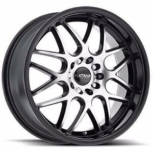NEW! 17 AND 18 inch machined face and black lip!! WITH NEW TIRES!! Multi bolt pattern FITS MANY VHEICLES!