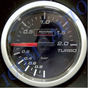Manometre Pression DE Turbo PRO Sport Eclairage LED 2 Couleurs 52mm