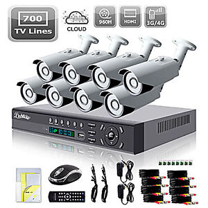 Liview® 8CH HDMI 960H Network DVR 700TVL Outdoor Day/Night Secur
